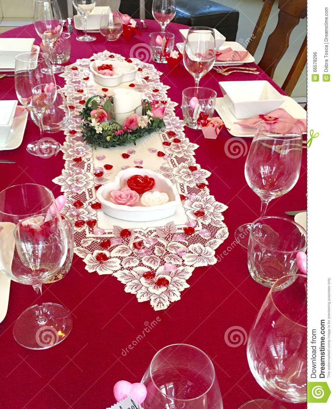 Valentine Dinner Party Stock Photo Image 66578296