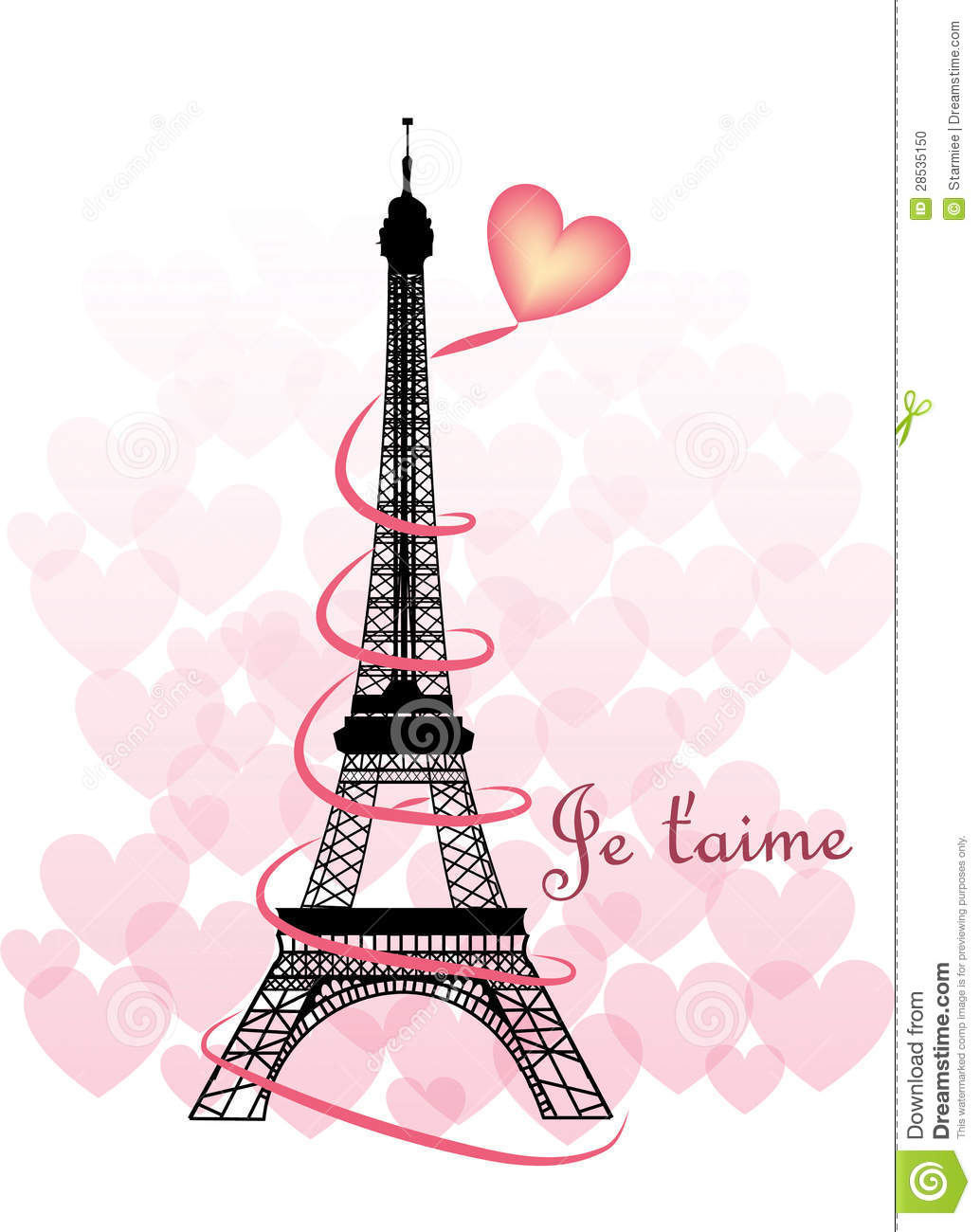 Valentine Eiffel Tower Stock Photo - Image: 28535150