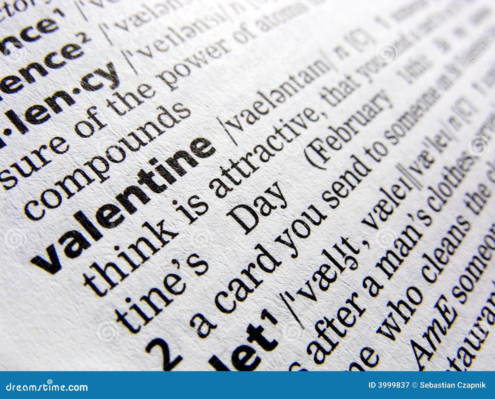 Valentine en dictionnaire
