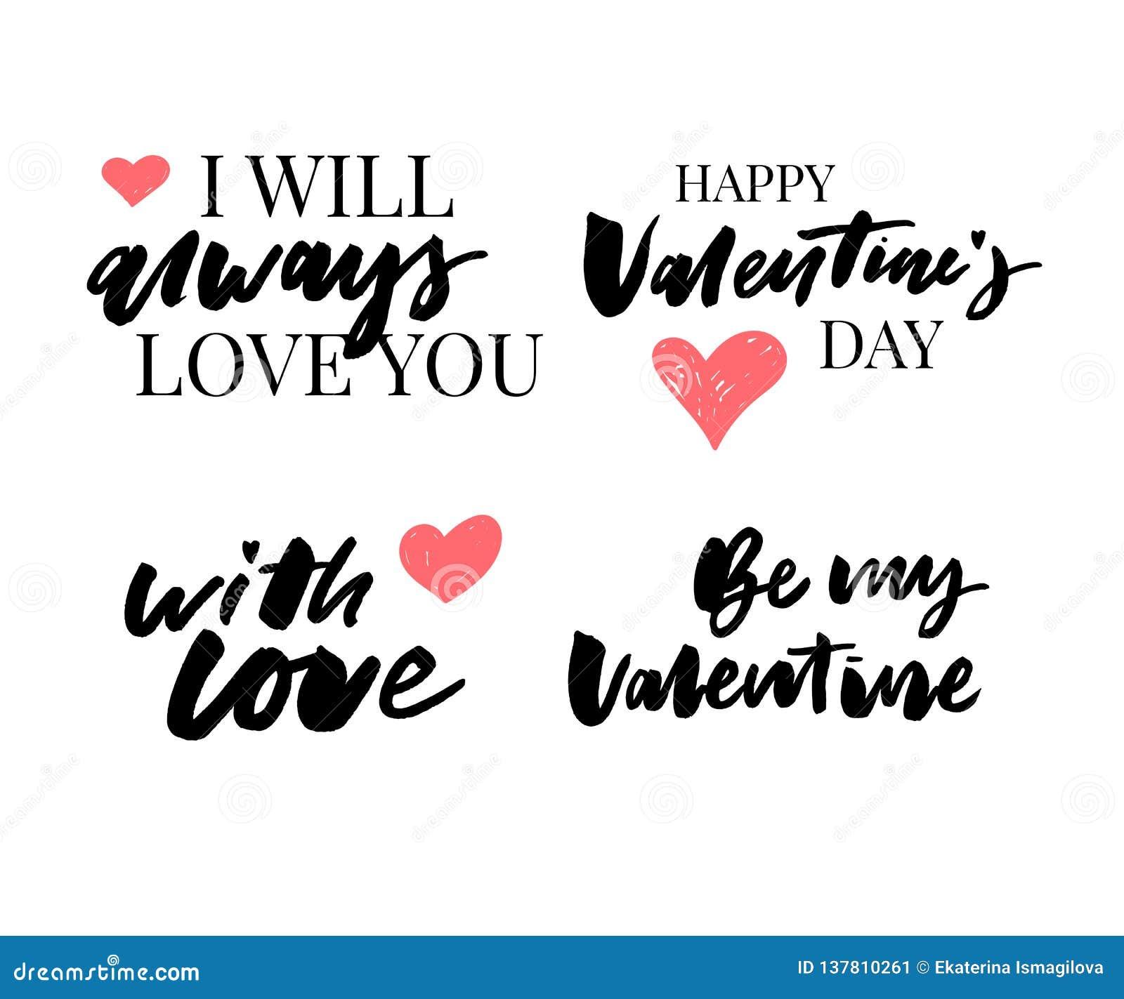 Valentine' ; ensemble de jour de s de symboles calligraphie Illustration de vecteur Gris sur le fond blanc