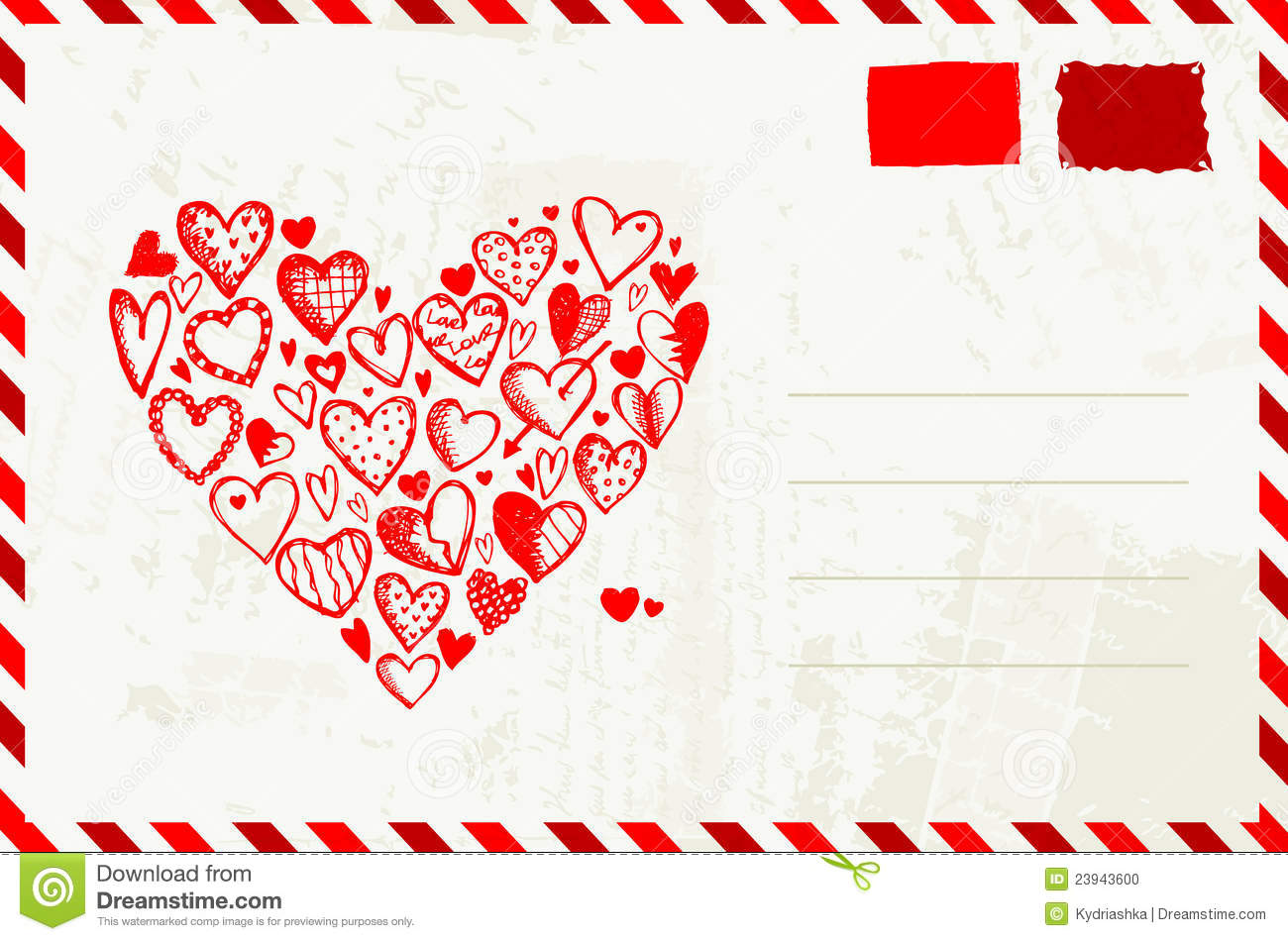 Valentine Envelope With Red Heart Sketch Stock Photo - Image: 23943600