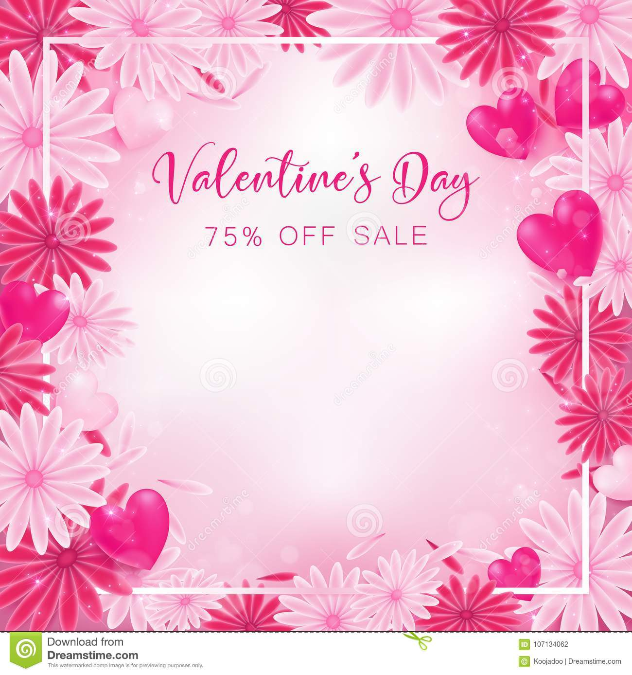 Valentine floral invitation is decorate in red and pink stock vector valentine floral invitation is decorate in red and pink color as flower blooming border is pearl pink along with petals are dropped on beside usage in stopboris Gallery