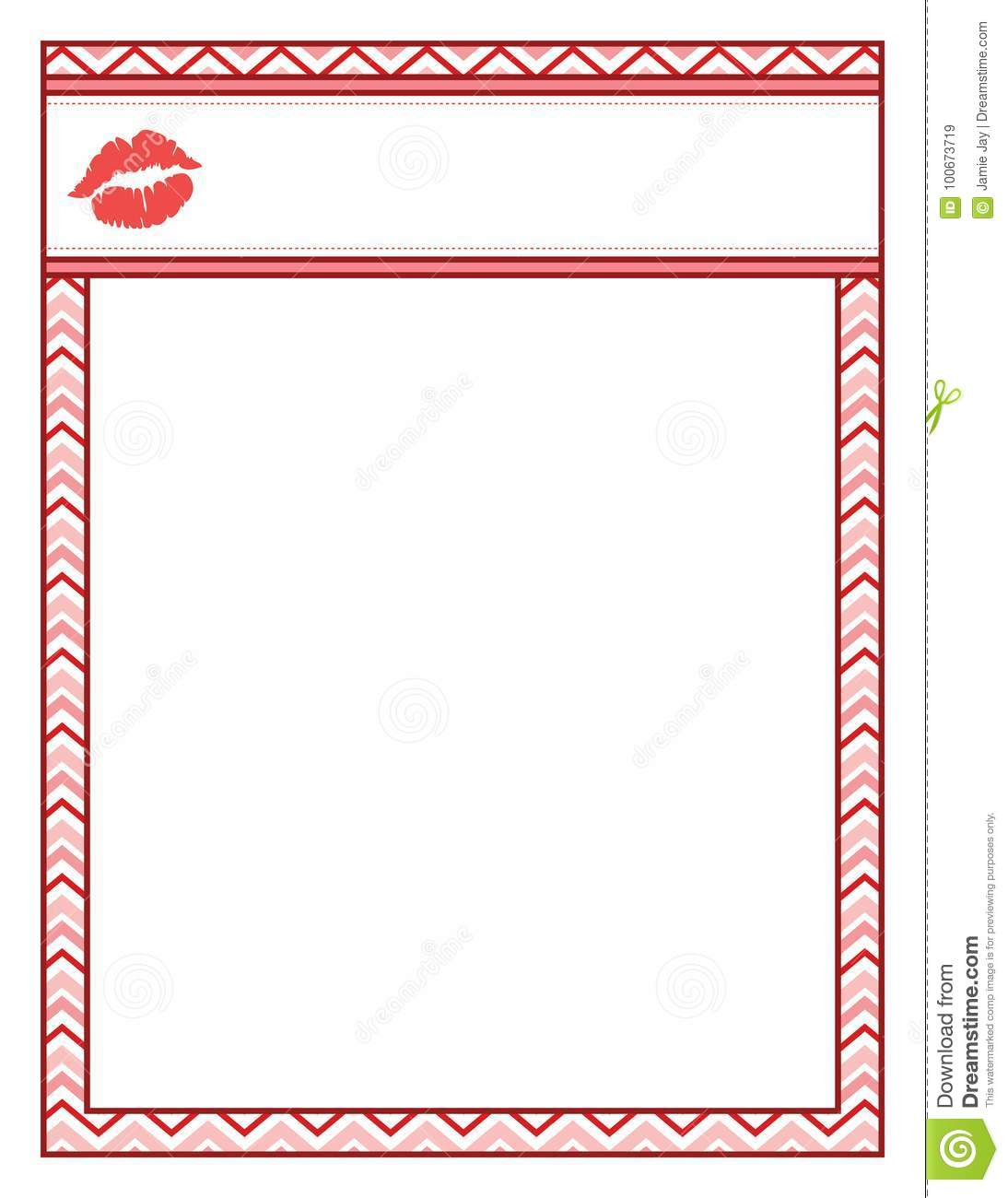 Valentine Frame With Kiss Lips, Red And Bold Stock Vector ...