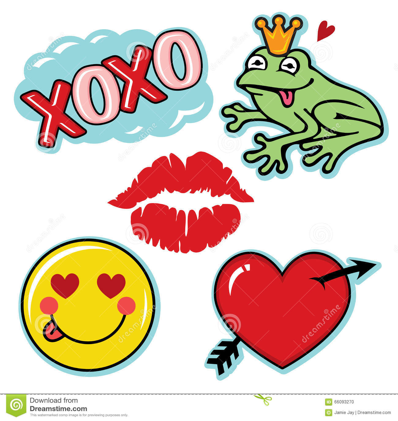 Valentine Fresh And Fun Love Icon Set Stock Vector - Illustration of