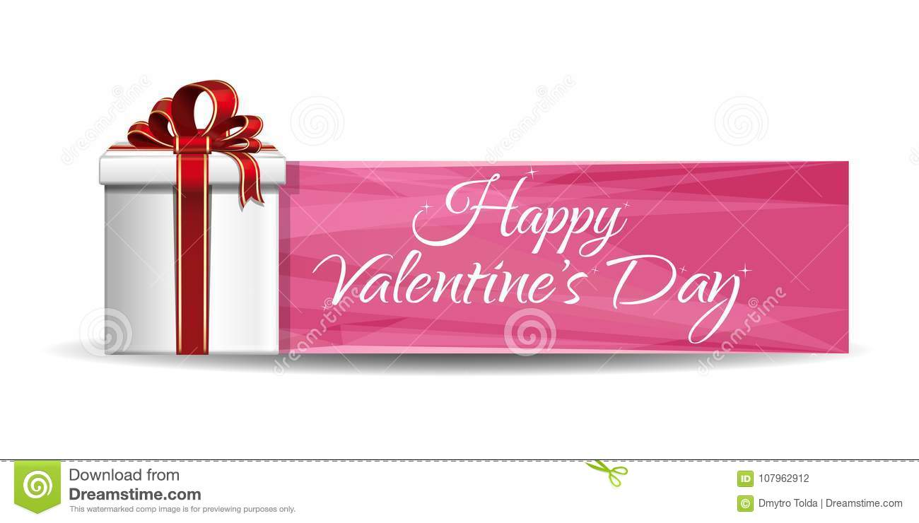 Pink Banner Design With Gift Box For Valentines Day Stock Vector