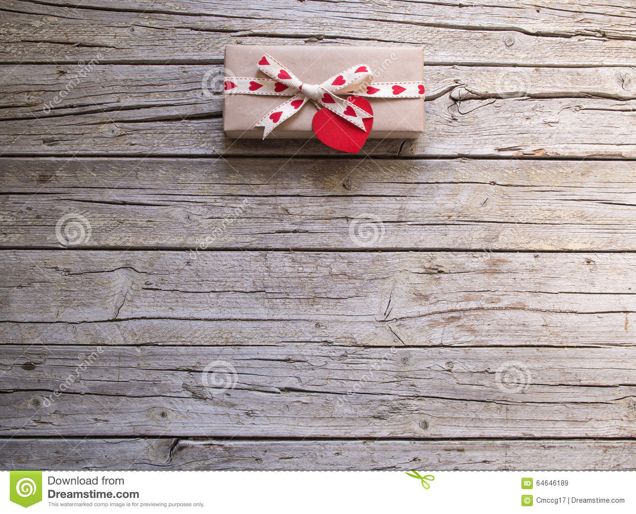Valentine Gift Box And Heart Tag On Wooden Board Stock Image Image