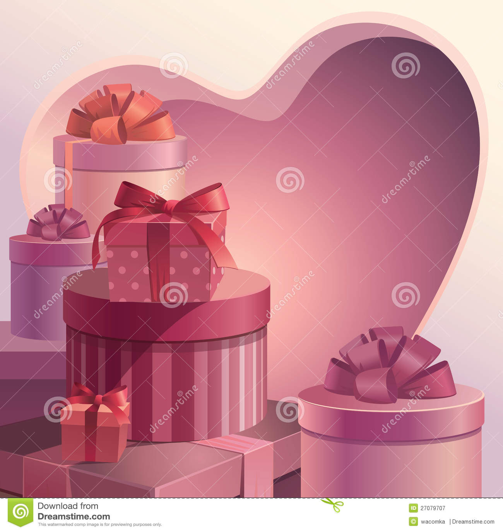 Valentine Gift Boxes Frame Template Stock Illustration