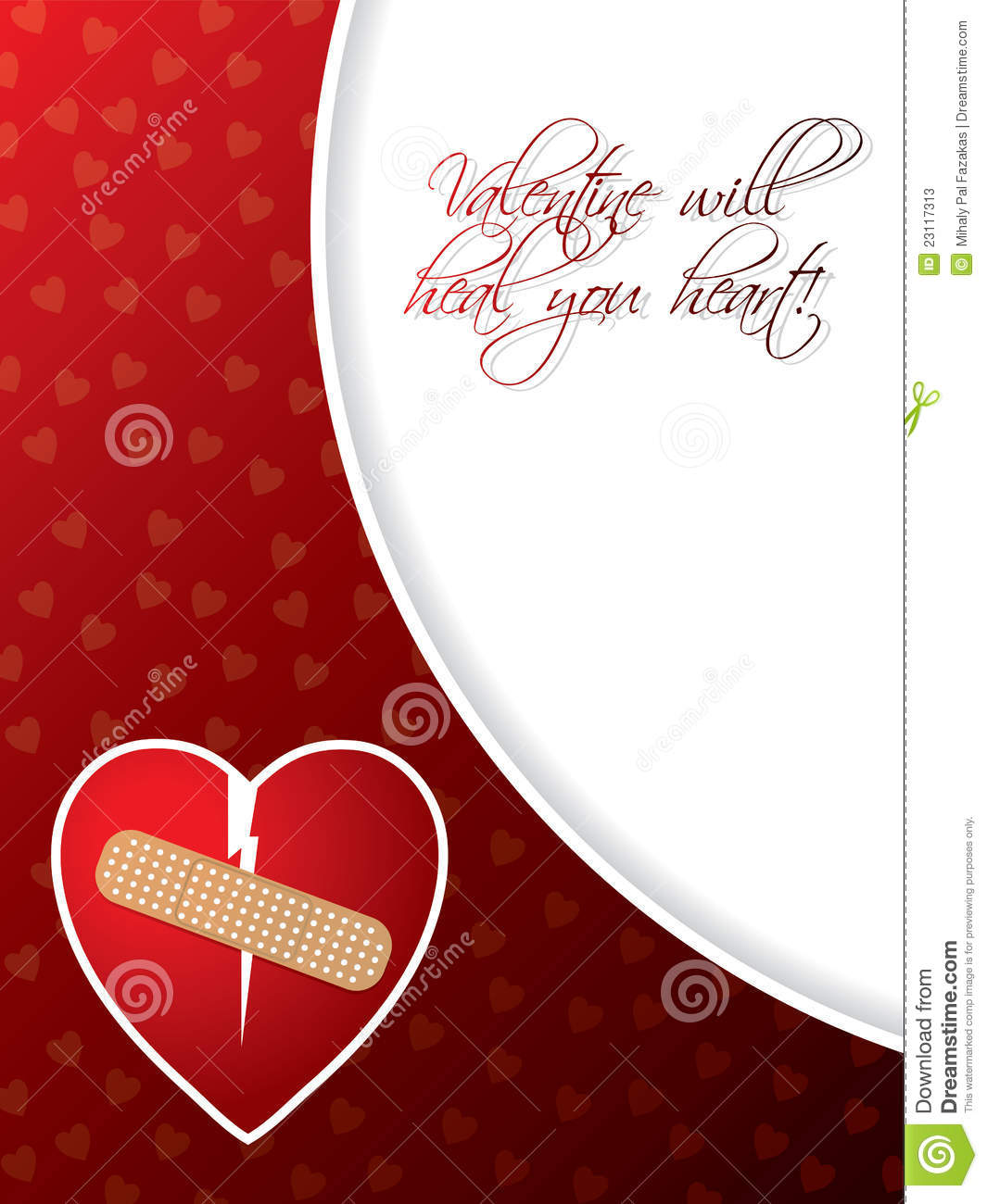 Valentine Greeting Card With Broken Heart Stock Vector