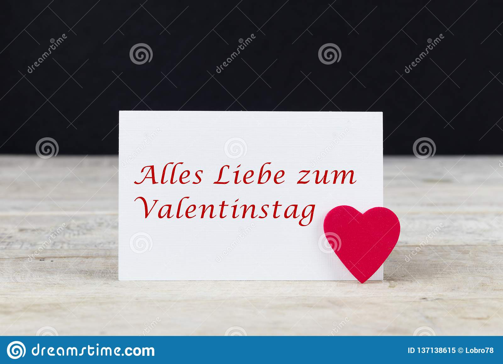 Valentine Greeting Card On Wooden Table With Text Alles Liebe Zum