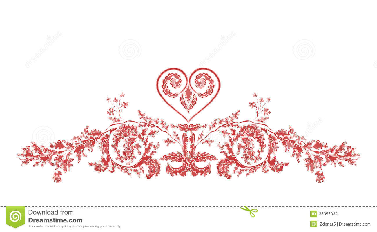 Valentine Greeting Floral Ornaments And Heart