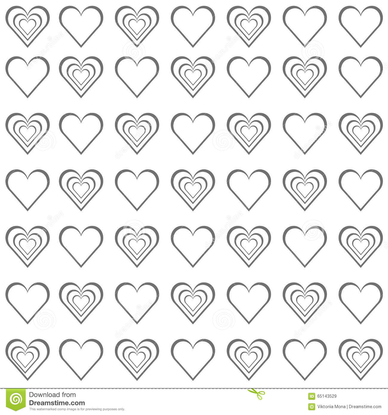 valentine grey hearts on white background illustration 65143529