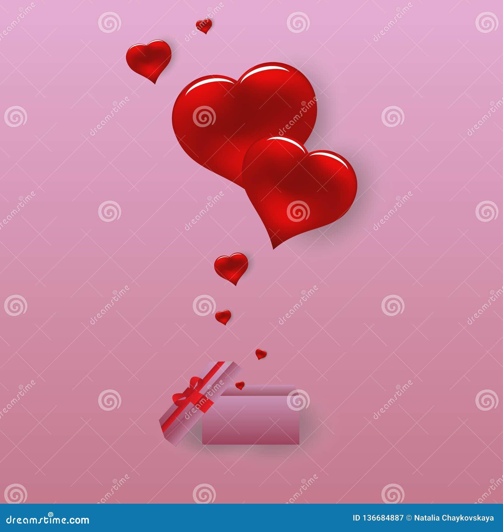 Valentine-harten met de doos van de giftkaart Rode vliegende harten op roze achtergrond Vector illustratie