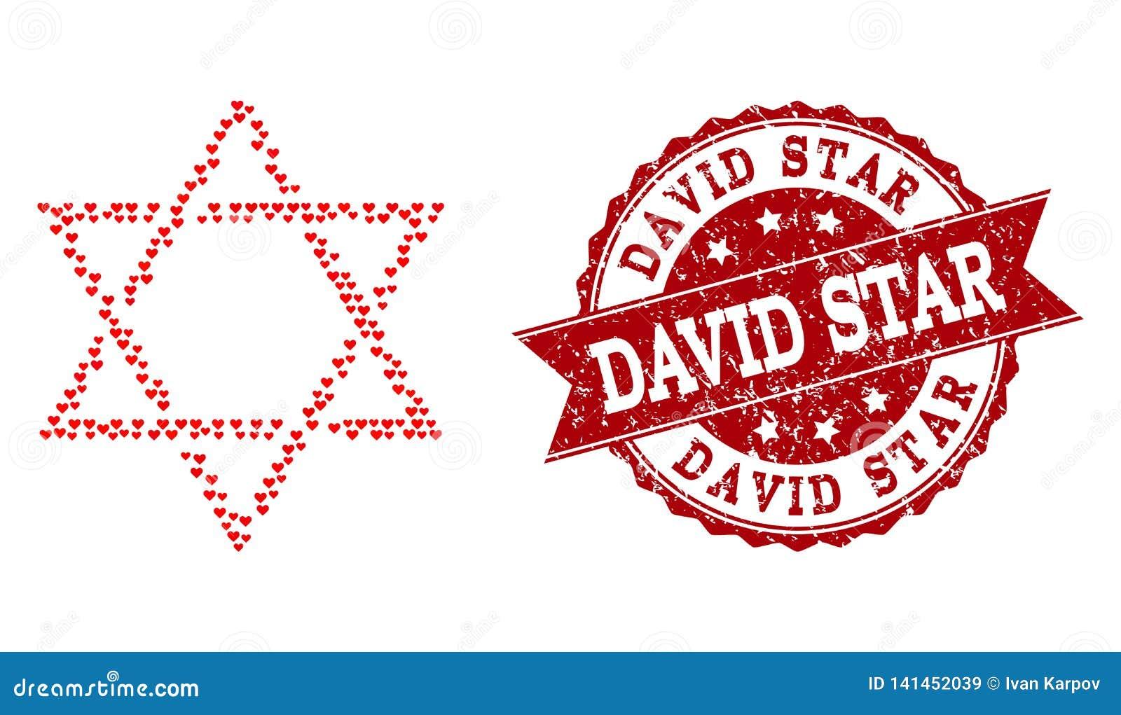 Valentine Heart Collage Of David Star Icon And Grunge
