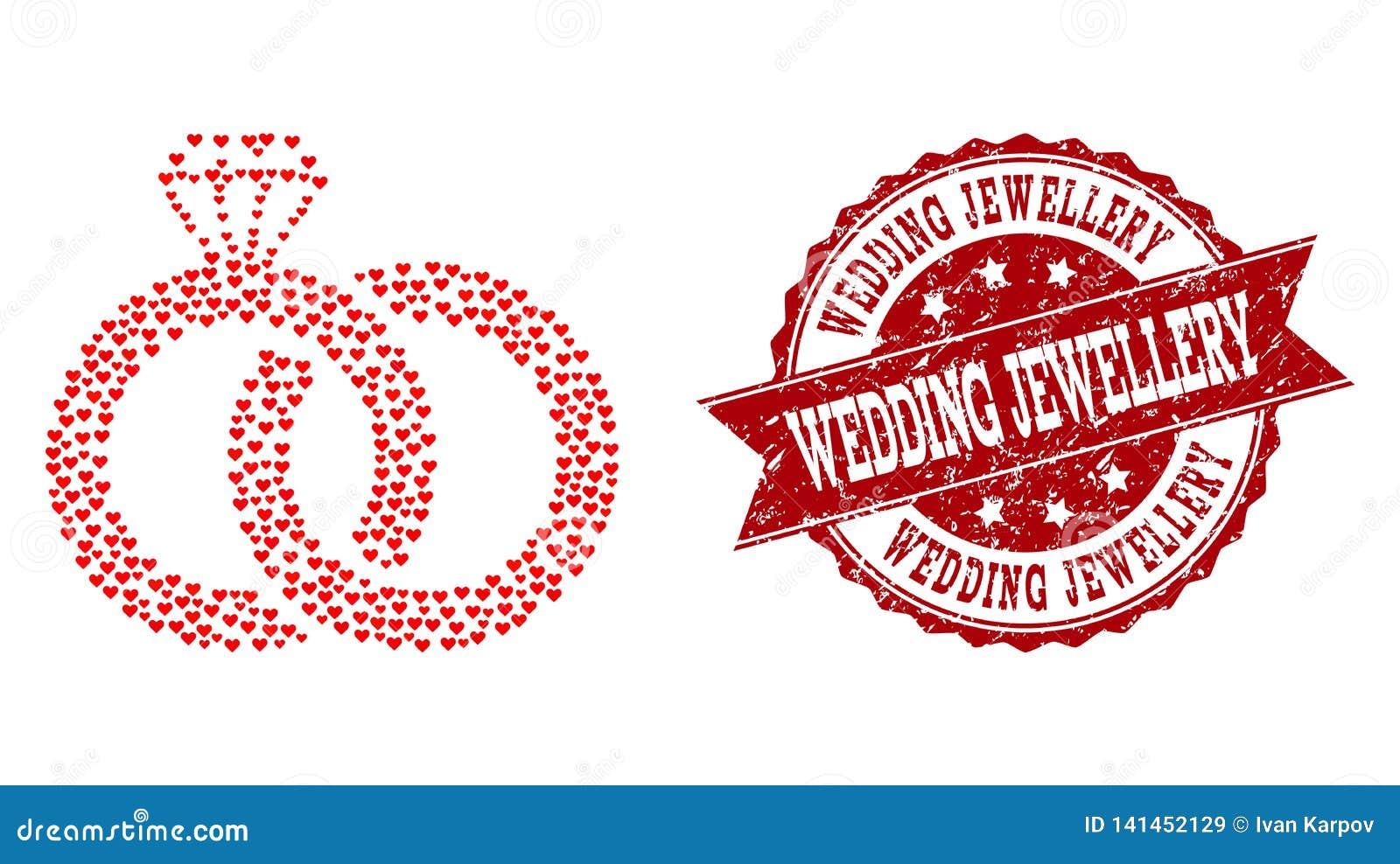 Valentine Heart Collage van het Watermerk van Diamond Wedding Rings Icon en Grunge-