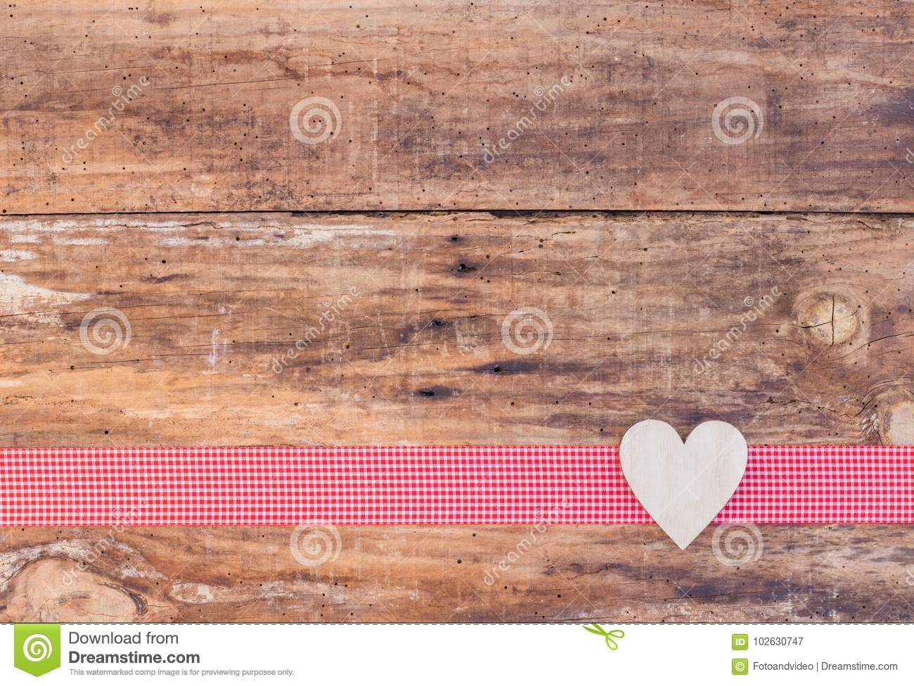 Valentine Heart Decoration On Red Ribbon Border And Rustic