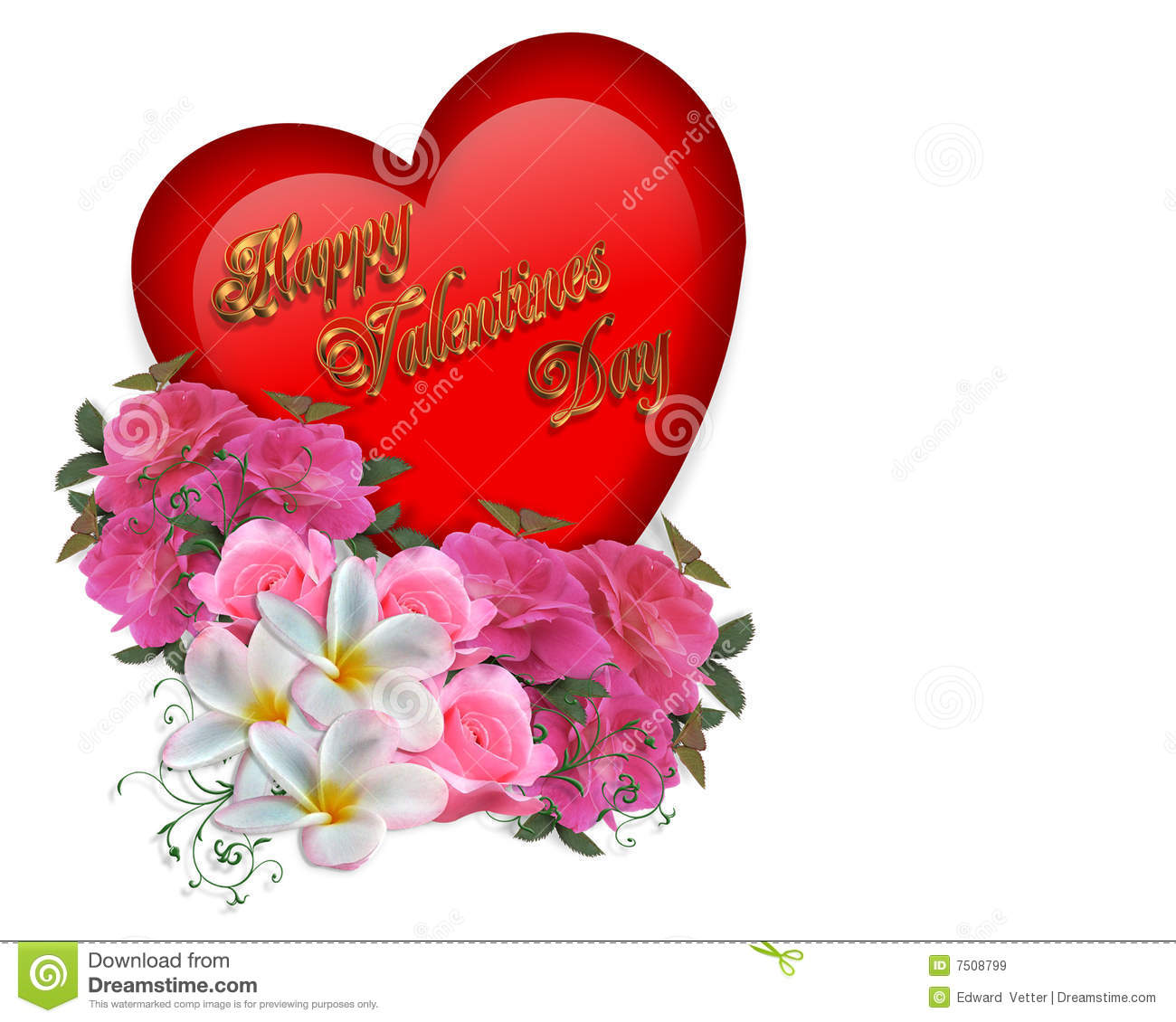 Valentine Heart And Flowers Royalty Free Stock Images - Image: 7508799