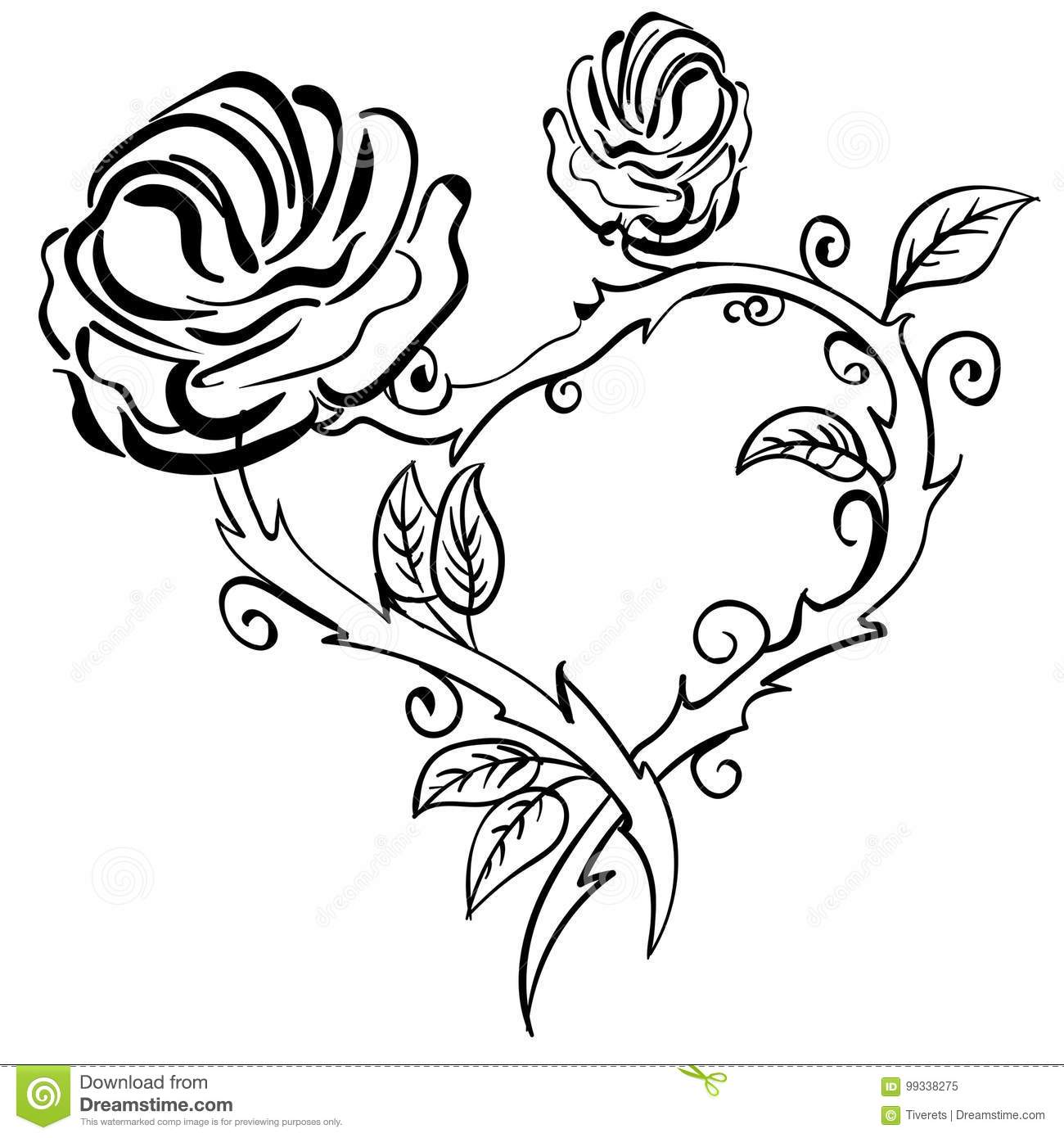 Valentine Heart Forest Berries Sketch Rose Frame Stock Vector