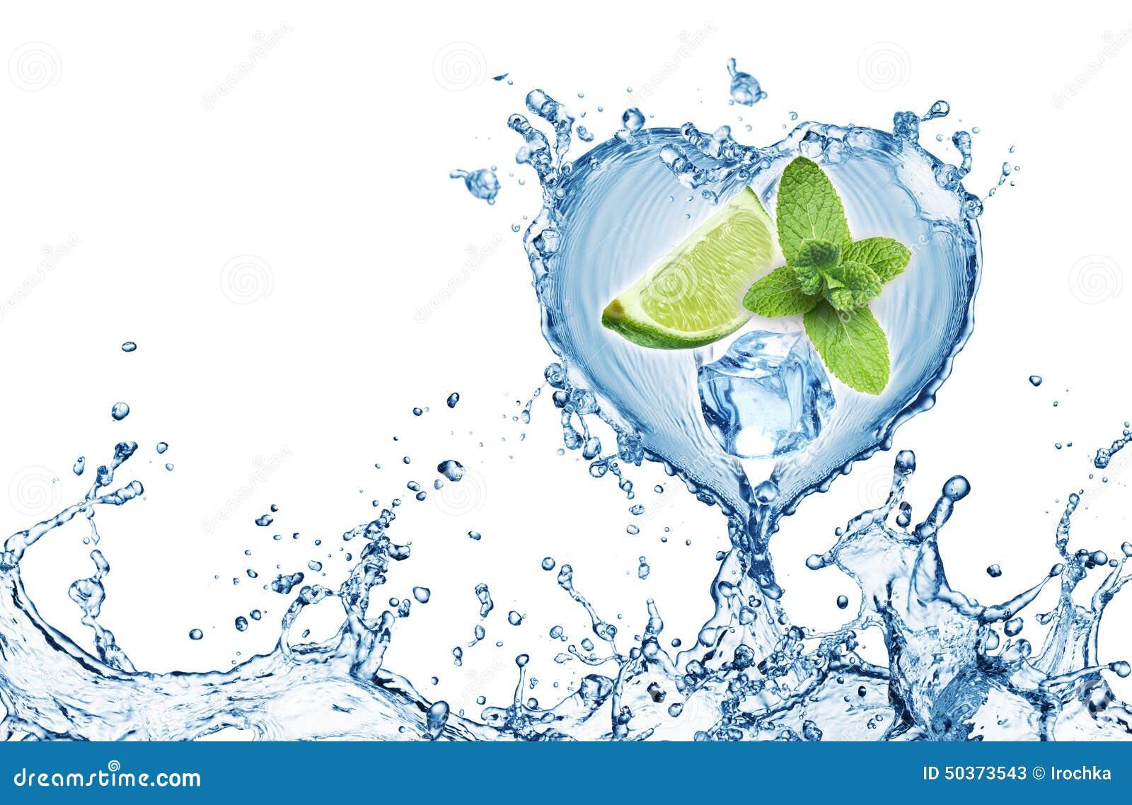 Valentine Heart från vattenfärgstänkmintkaramellen, is och limefrukt