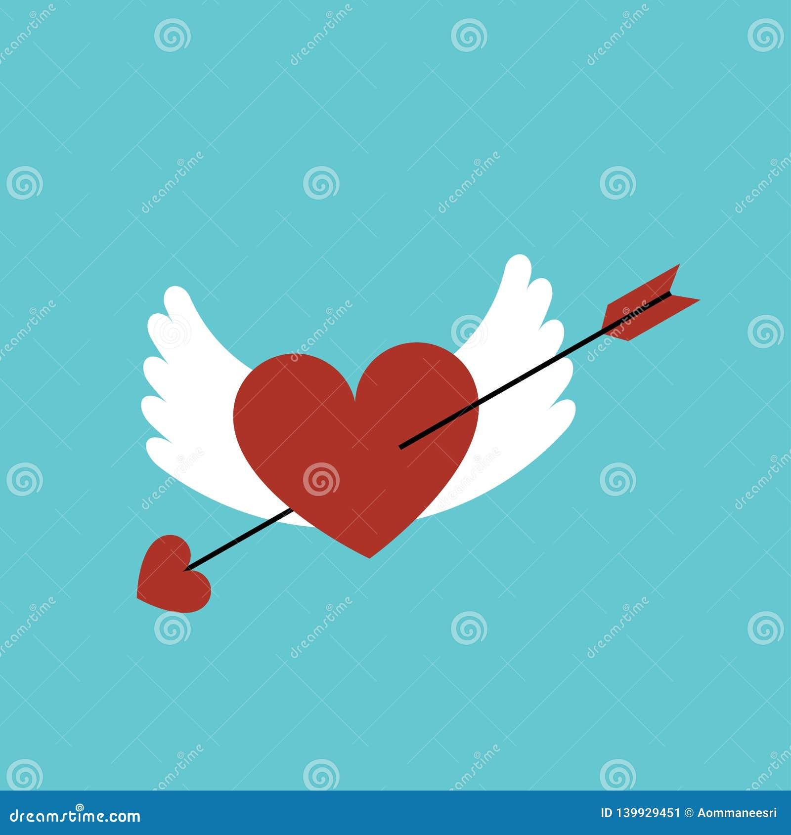 Valentine Heart Symbol Coeur Avec Les Ailes Et Et La Flèche