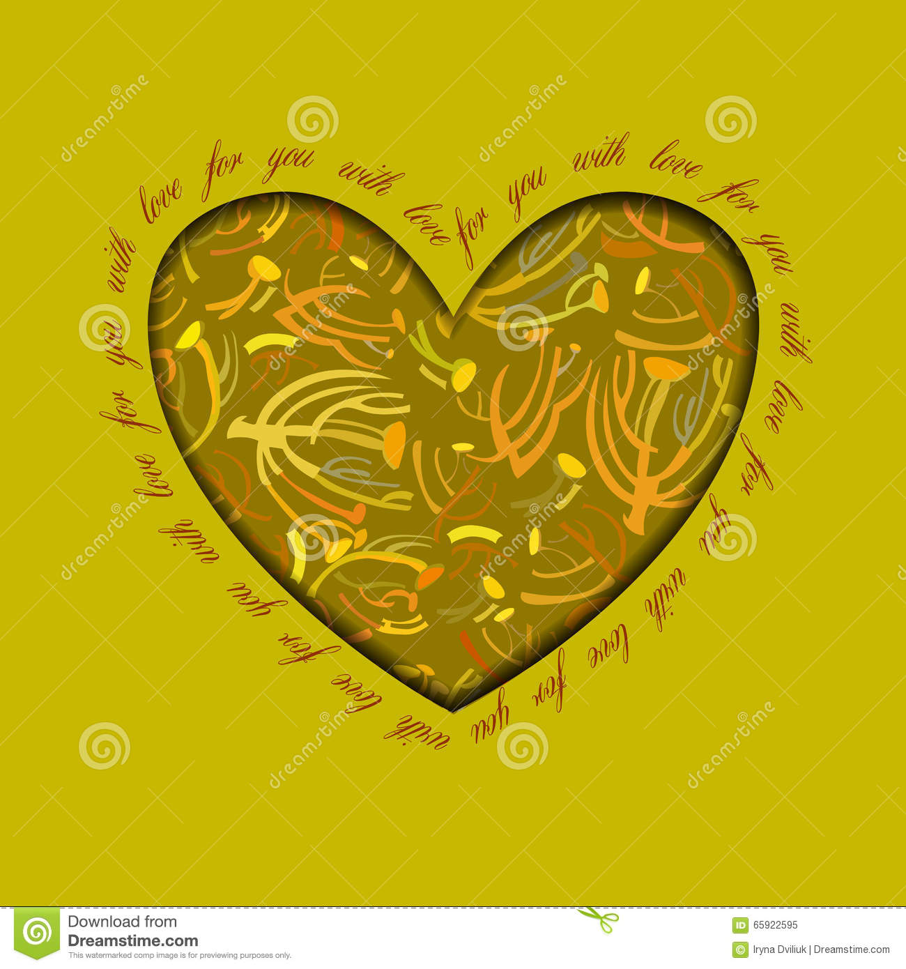 Valentine Hearts Card With Floral Ornament Stock Vector