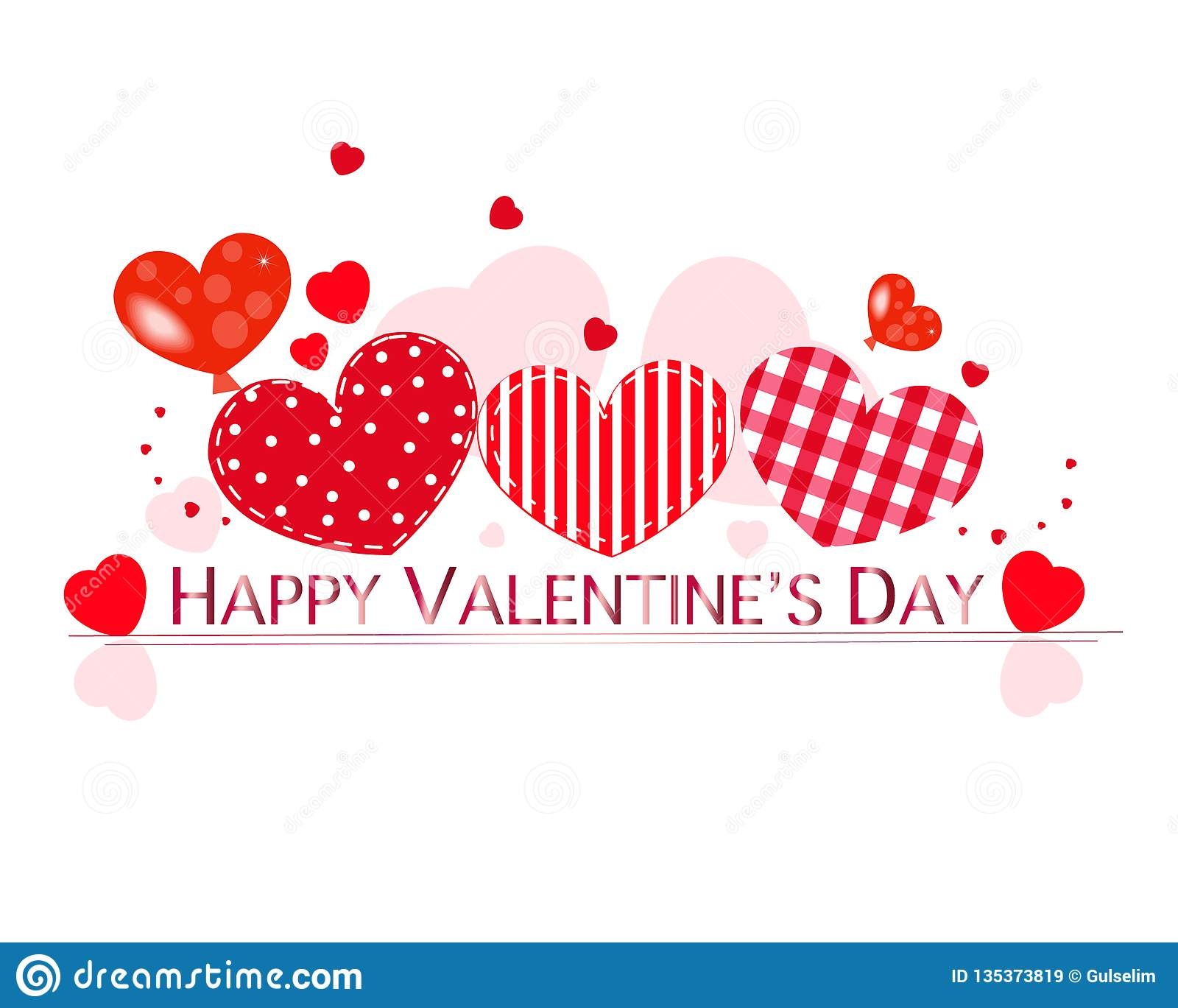 Valentine Hearts And Happy Valentines Day Text Valentines Day Wallpaper Stock Illustration Illustration Of Background Lettering 135373819