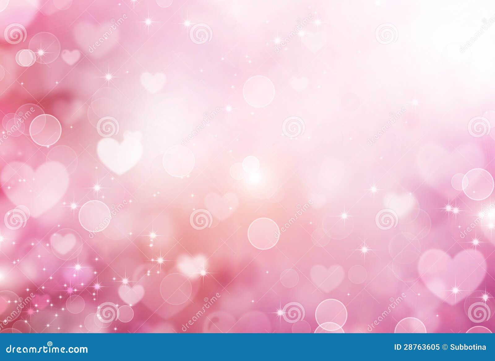 Valentine Hearts Pink Background