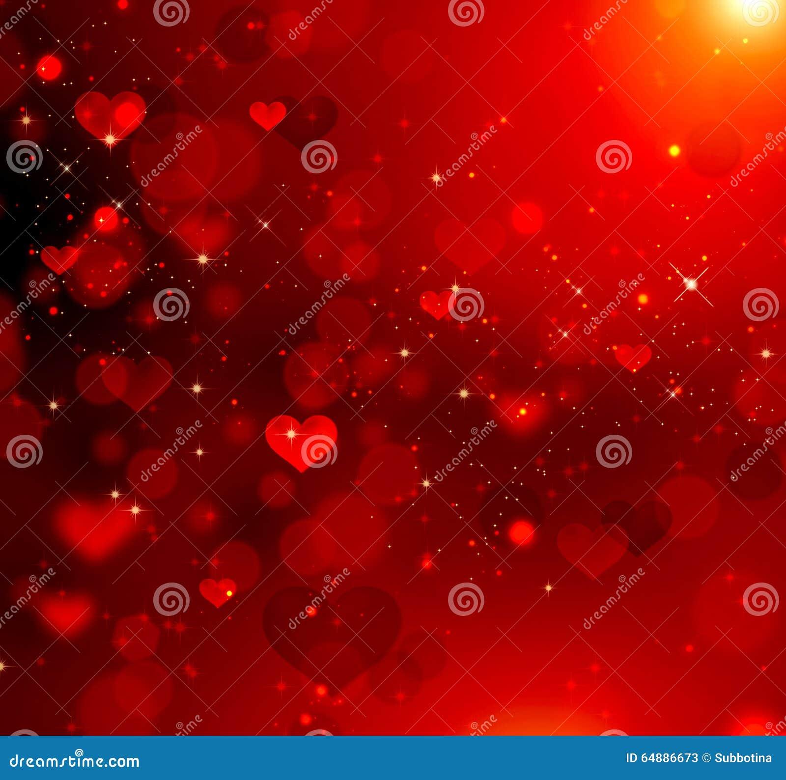 Valentine Hearts Red Background