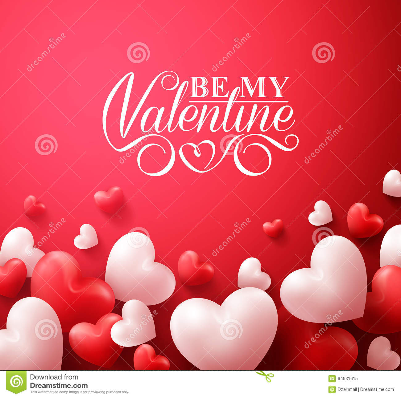 Valentine Hearts In Red Background Floating With Happy ...