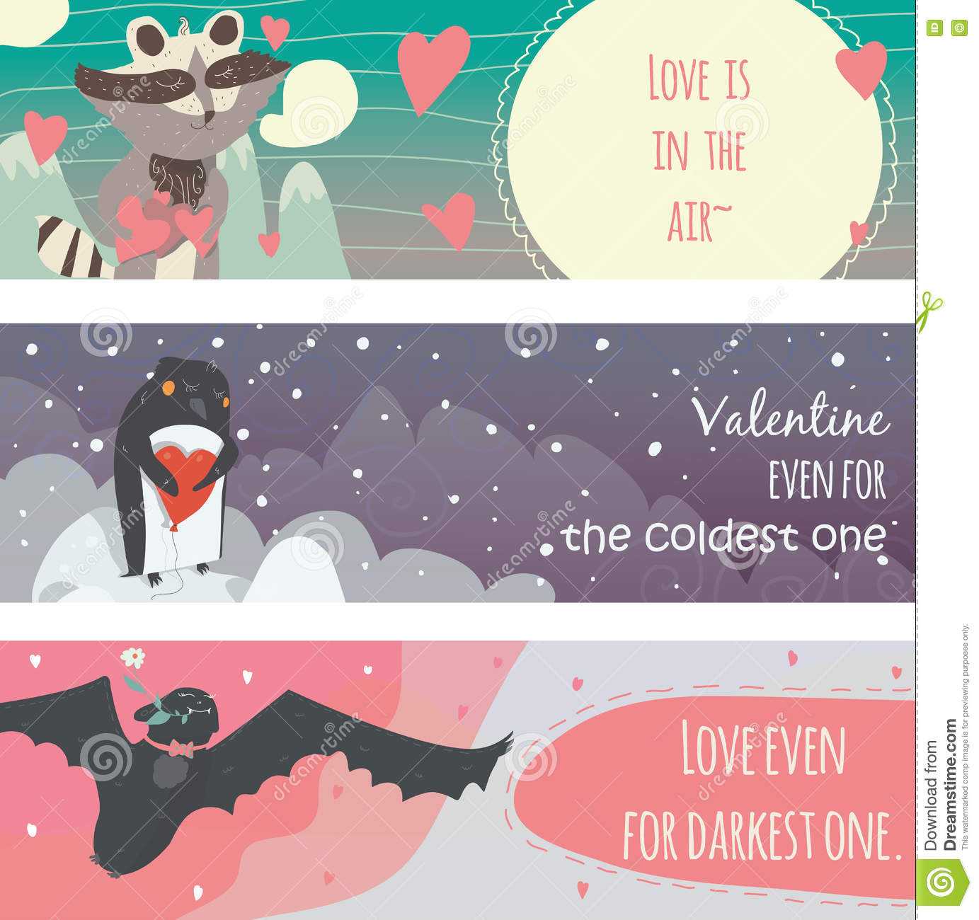 Valentine Horizontal Banners Set With Fun Animals With Hearts And