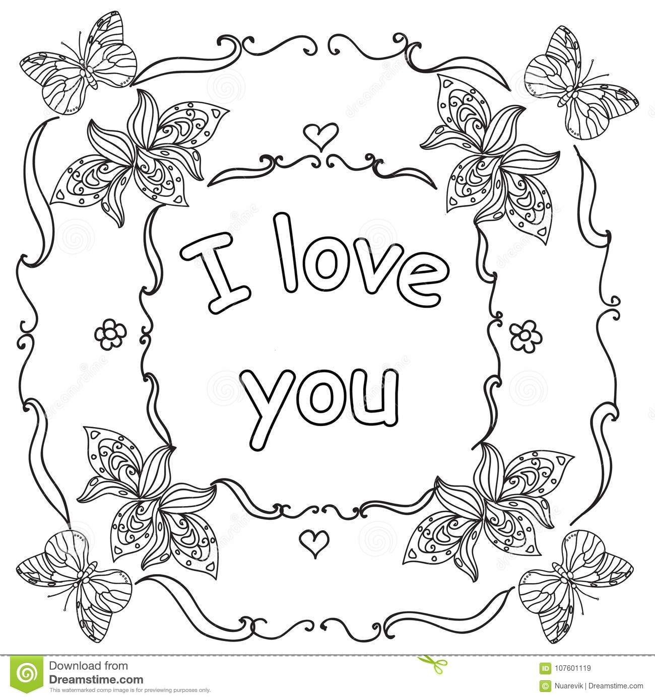 Download Valentine I Love You Quote Adult Coloring Page Stock Illustration