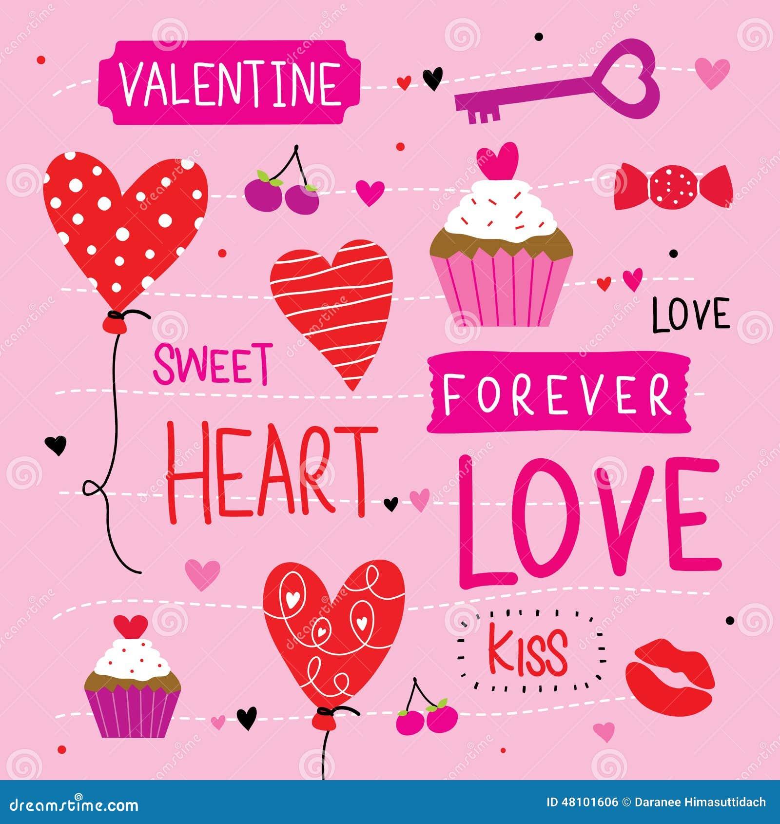 Valentine I Love You Sweetheart Cute Cartoon Vector Stock Vector