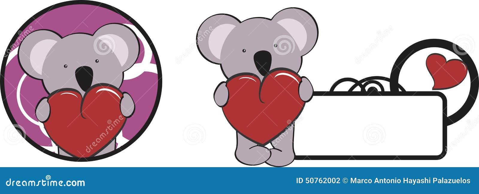 Valentine Koala Cartoon Heart Hug Copyspace Stock Vector ...