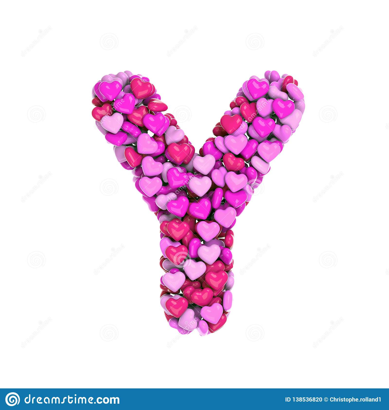 Valentine Letter Y - Capital 3d Heart Font - Suitable For Valentine