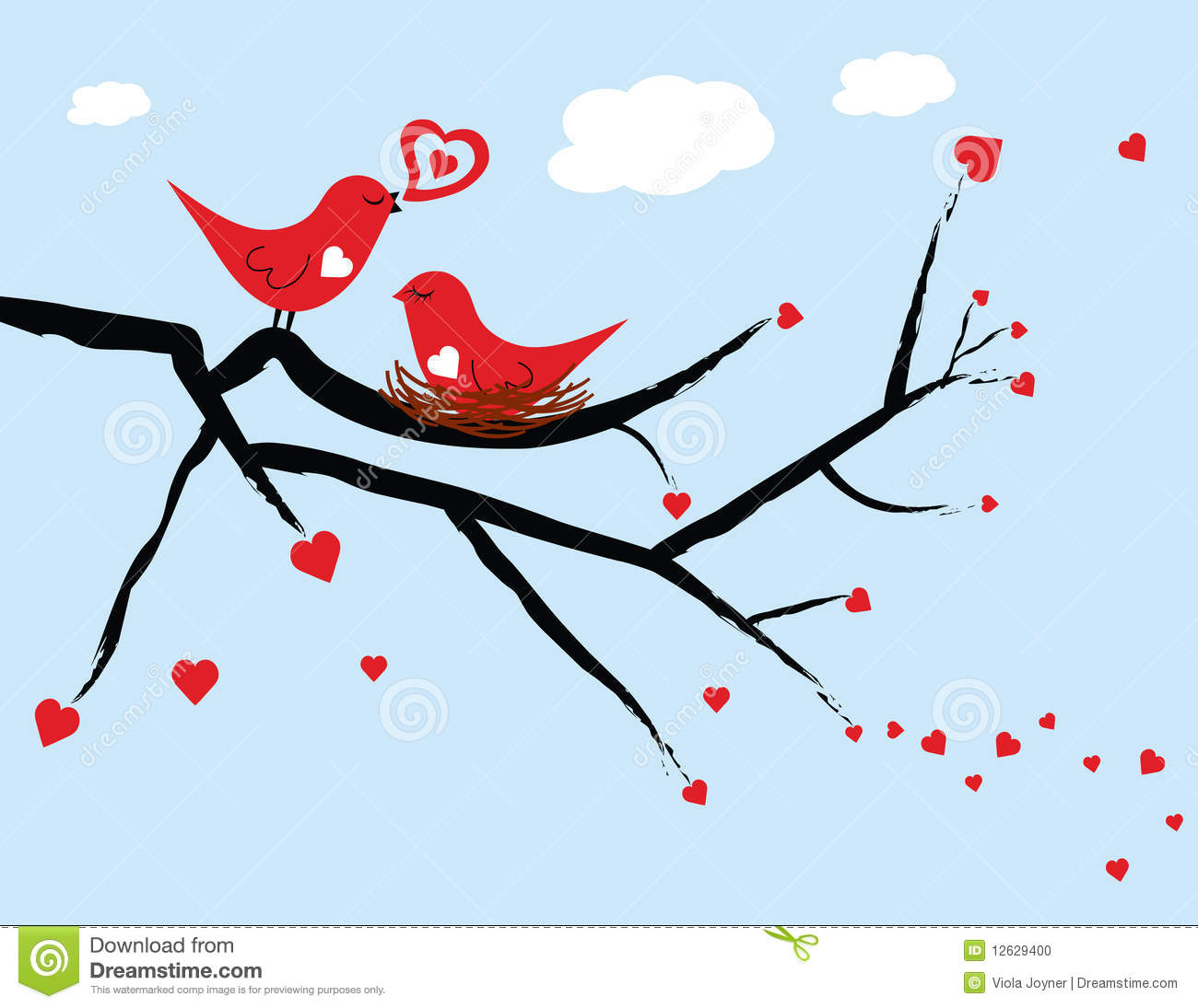 Illustrated red love birds with the female love bird sitting on a nest ...