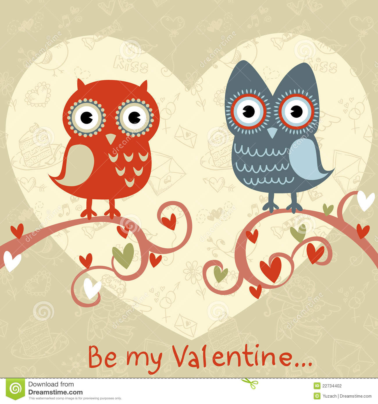 Valentine love card with owls and hearts stock vector illustration download comp m4hsunfo