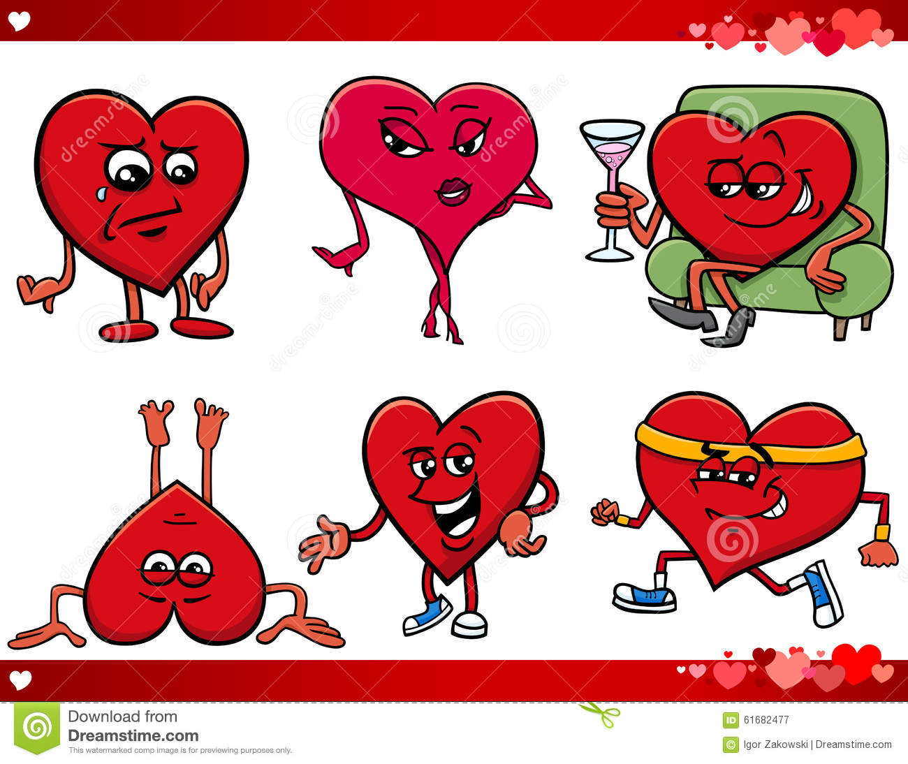 Cartoon Characters Valentines Day : Valentine and love cartoon set stock vector image