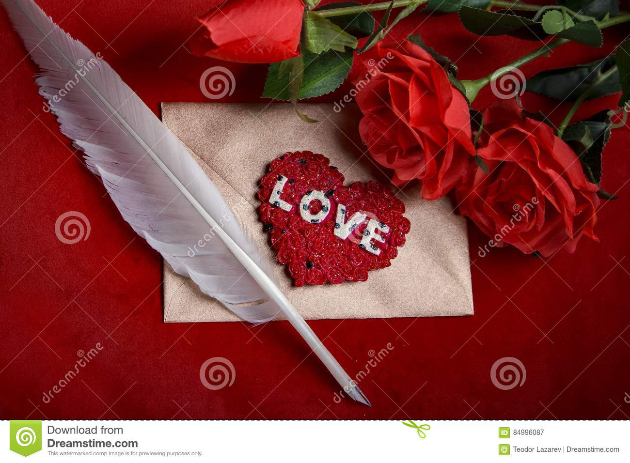 valentine love letter roses quill and envelope