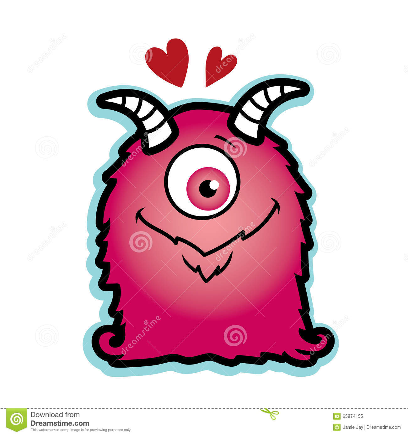 valentine love monster pink with red hearts hairy cyclops stock