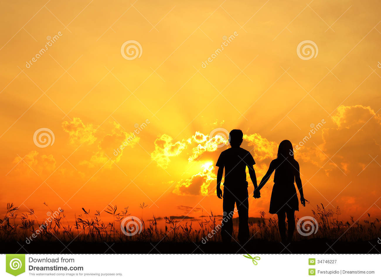 Valentine Man And Woman Love Silhouette In Sunset Royalty Free Stock Photography
