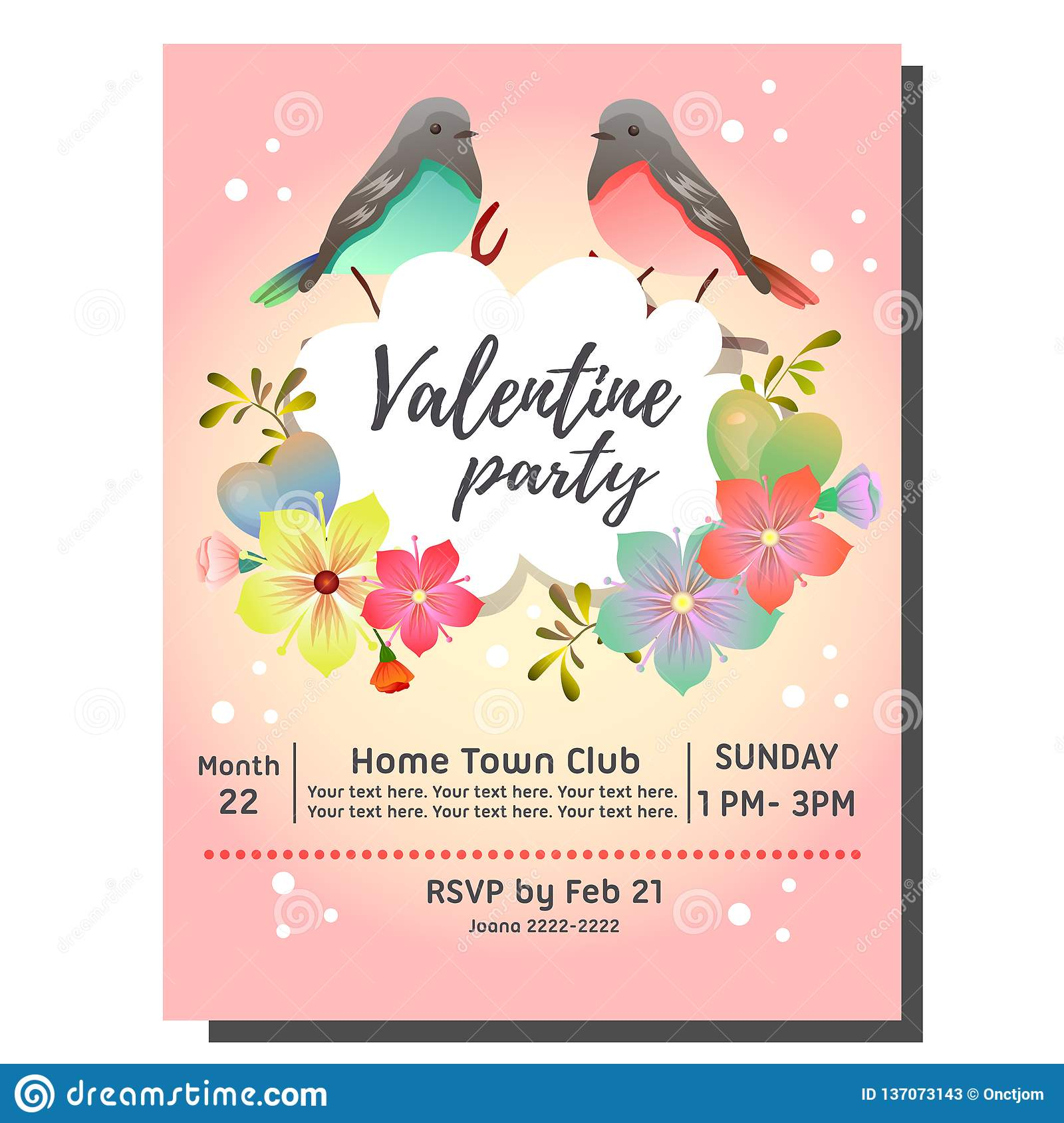 Valentine Party Invitation Card With Bird Couple Stock