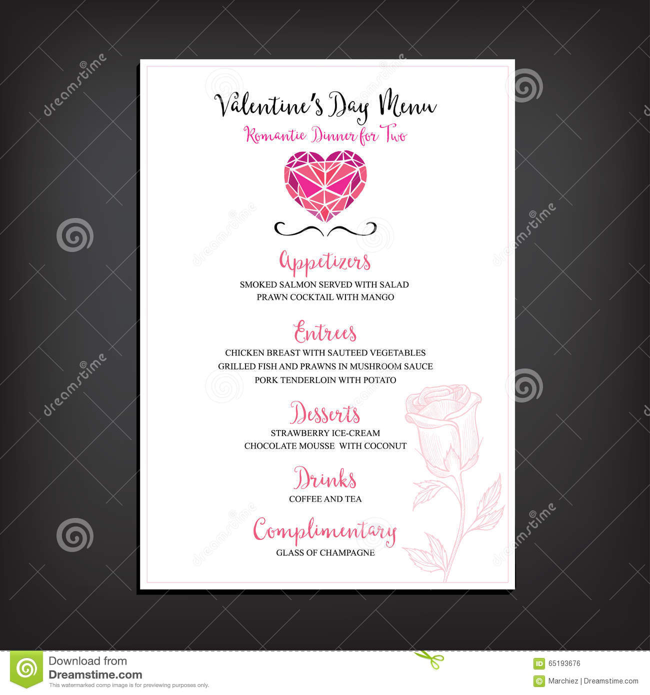 Valentine Party Invitation Restaurant Food Flyer Stock