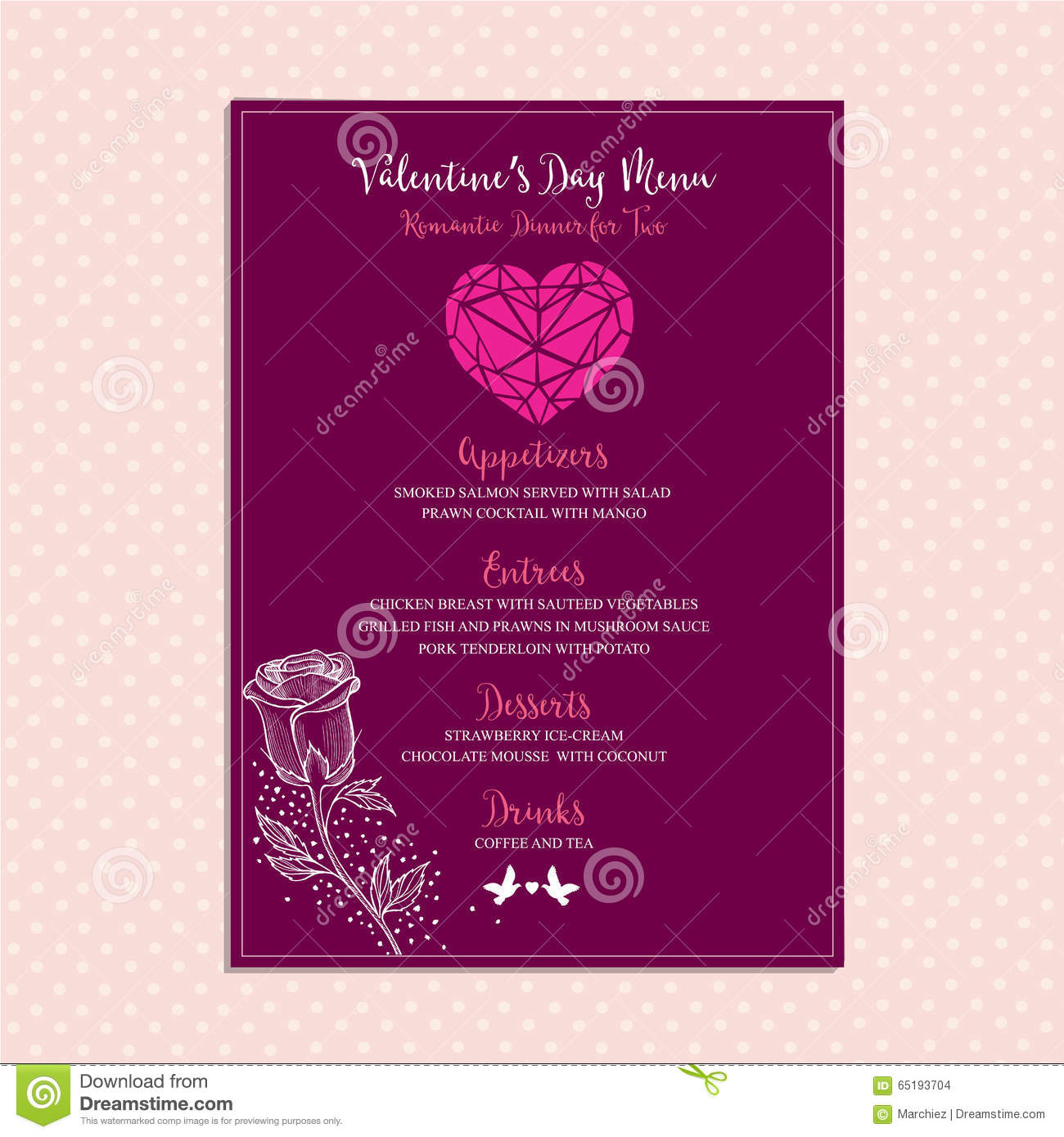 valentine party invitation restaurant food flyer stock vector