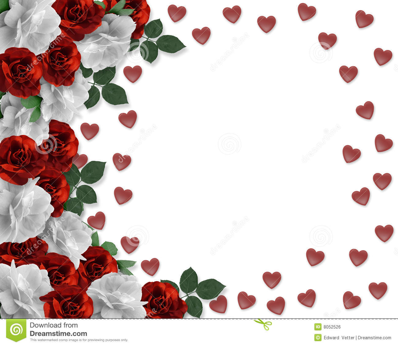 Valentine Red And White Roses Border Royalty Free Stock Image - Image ...