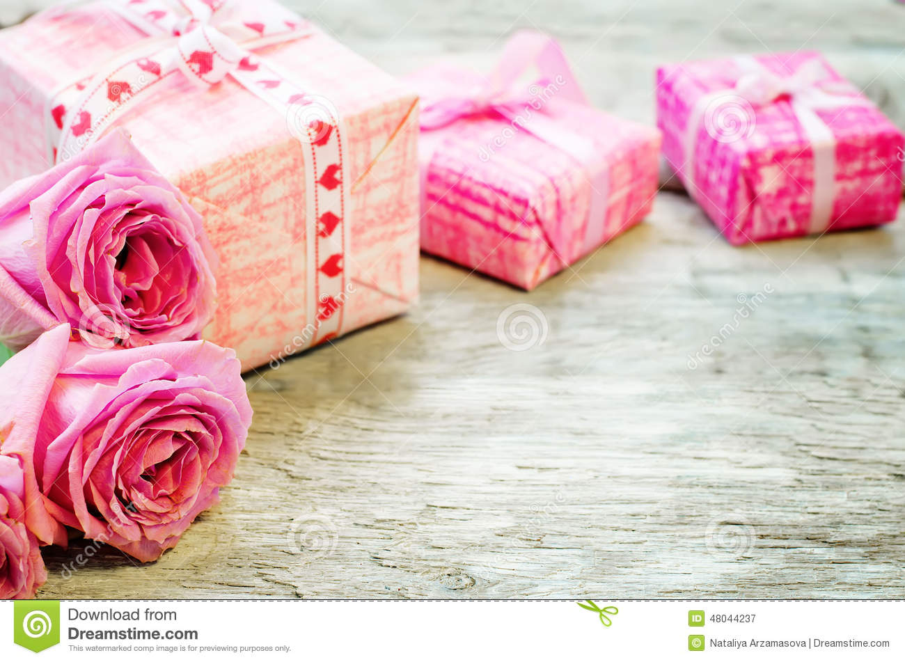 Valentines Background With Gifts And Flowers Stock Image Image of