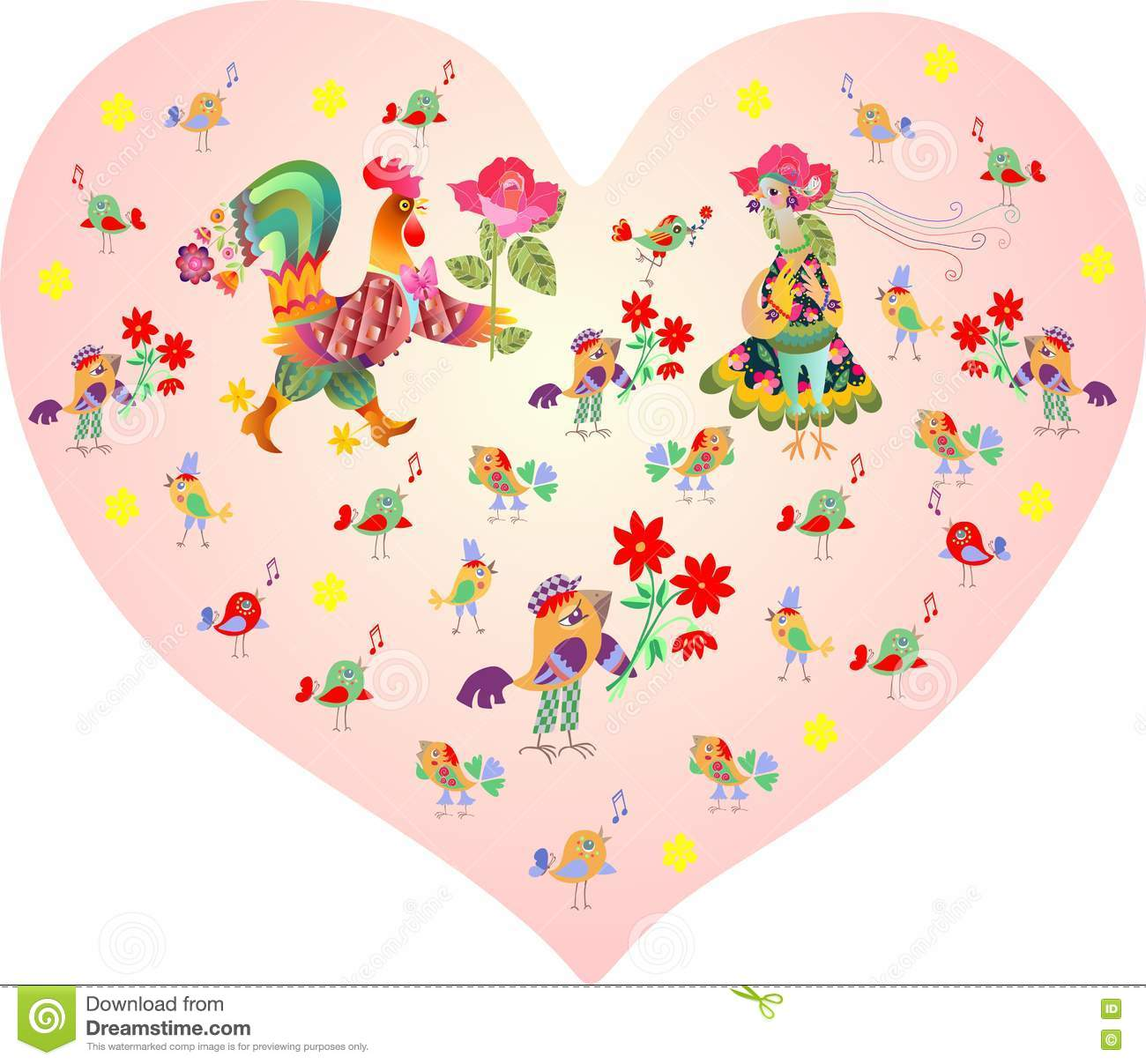 Valentines Card Pink Heart With Cute Cartoon Rooster Hen And