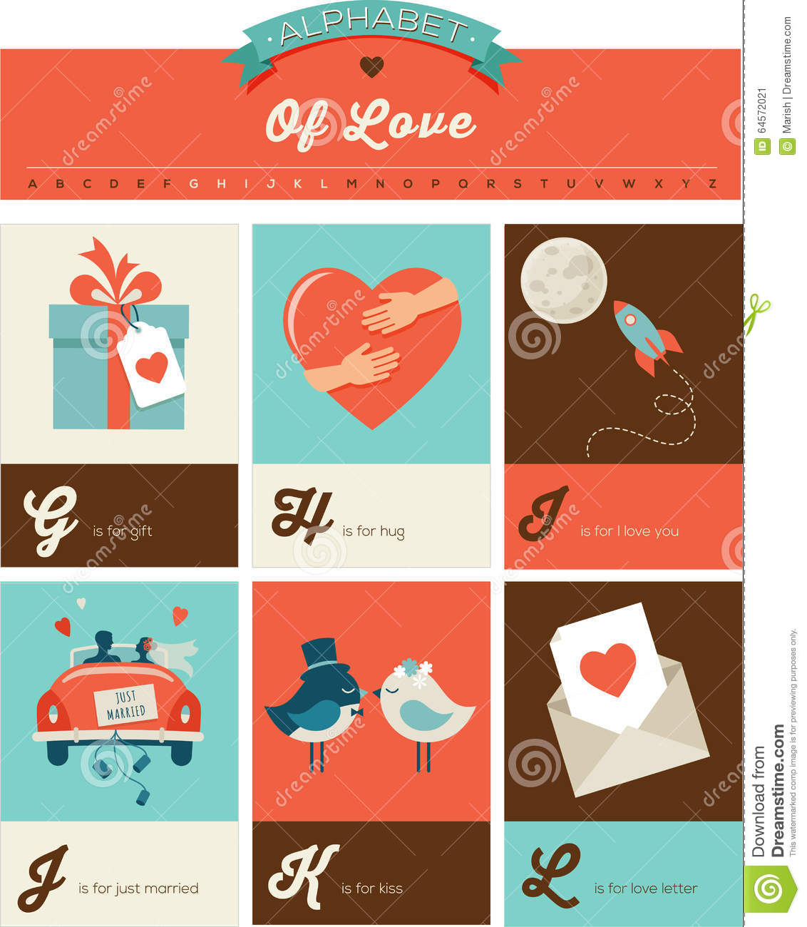 Valentines Day Abc Alphabet Poster Stock Vector Illustration Of
