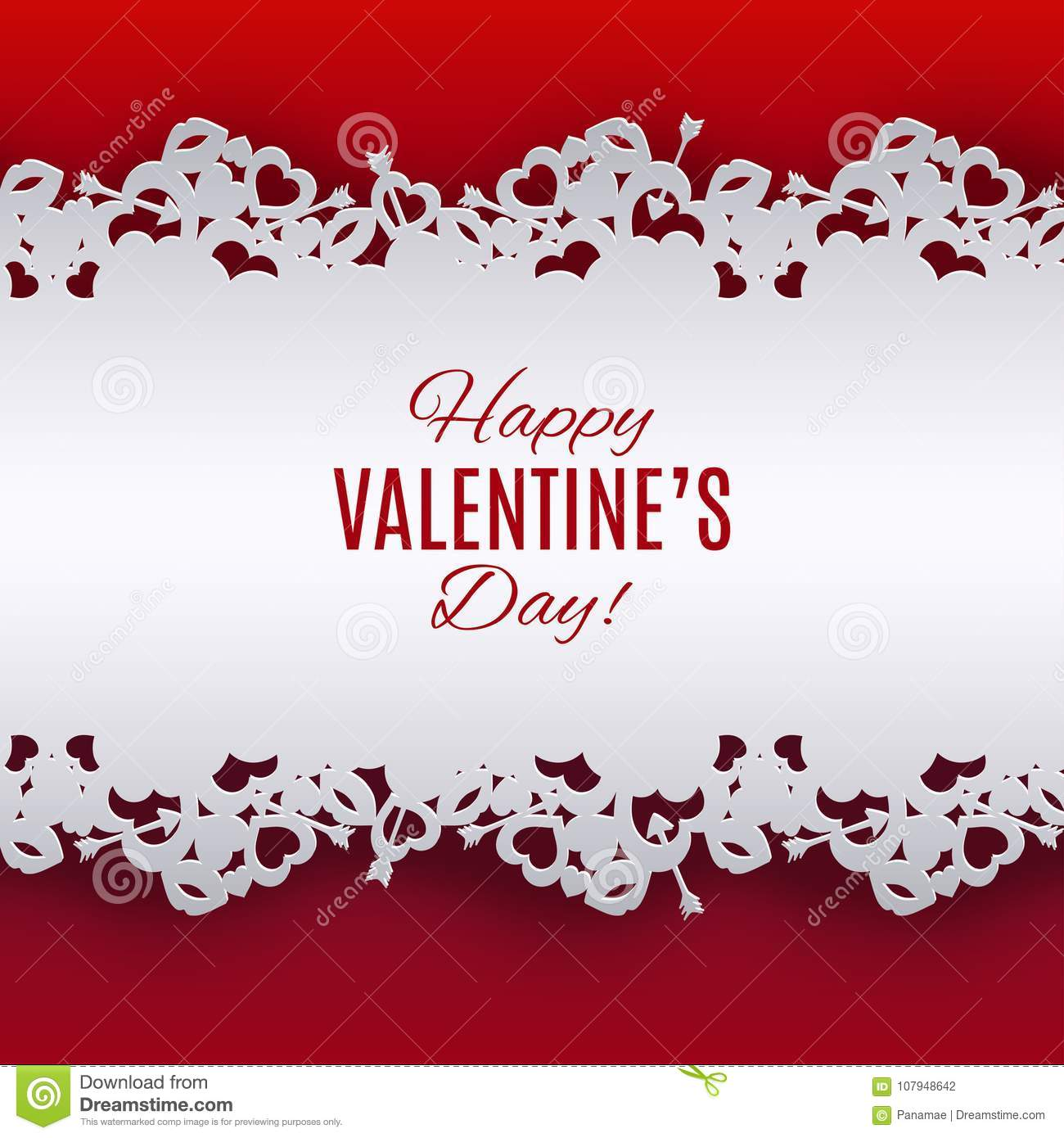 Valentine`s Day Background With Lace Ribbon. Pattern With Heart ...