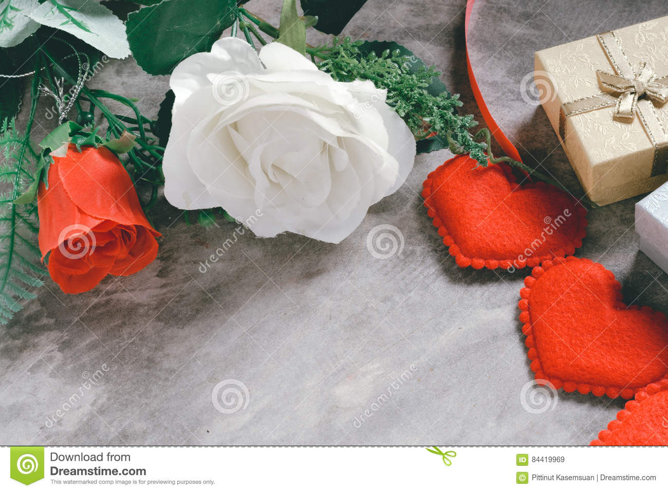 Valentine`s day background,red heart with red white rose ,ribbon