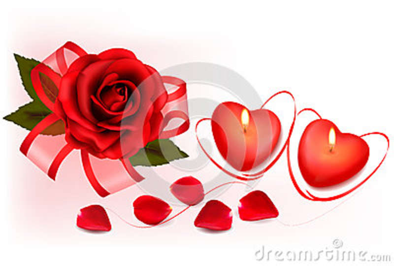 Valentine`s day background. Red roses and two heart candles.