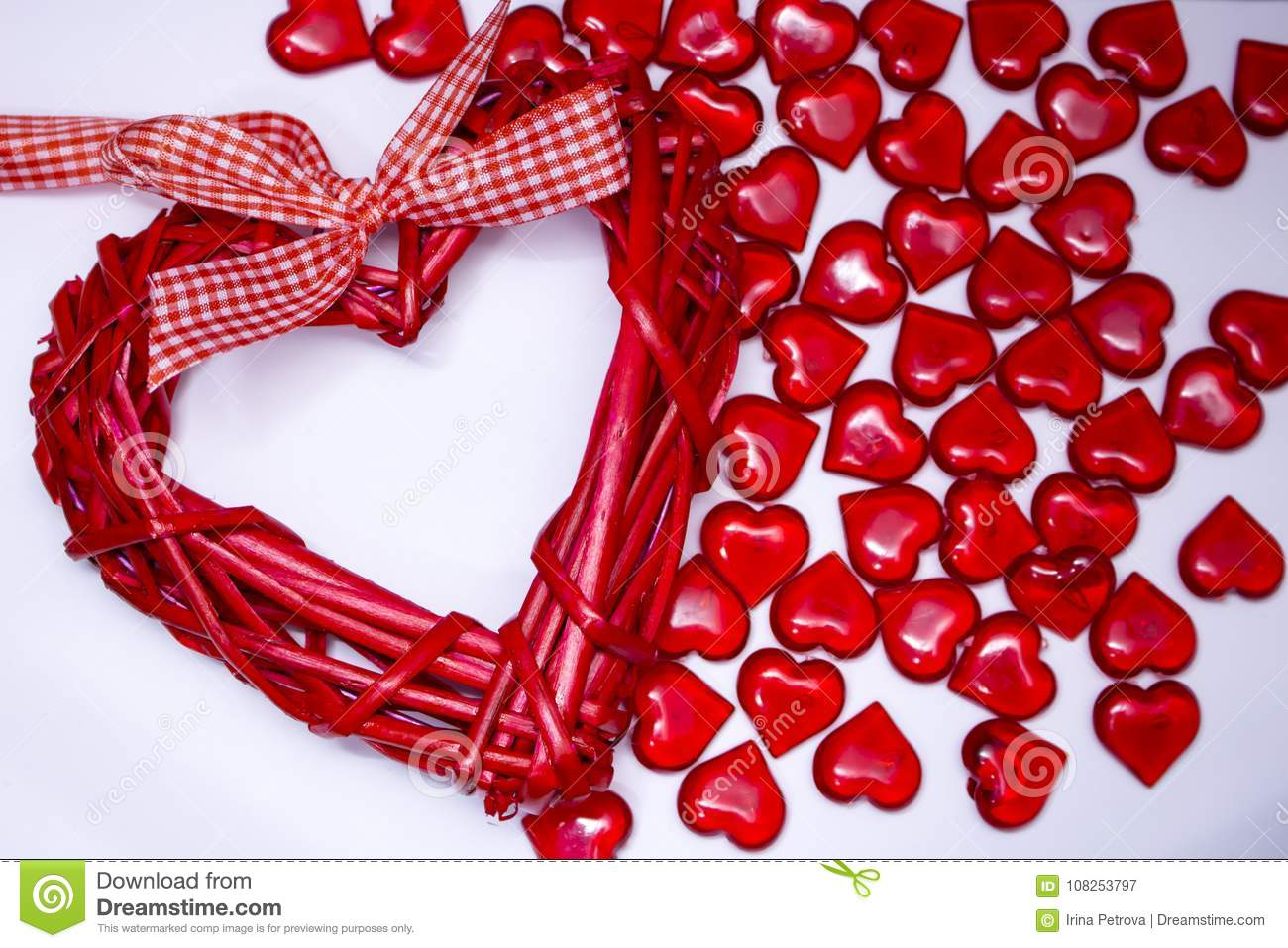 Valentines Day Background, Lot Of Red Transparent Hearts, Greeting